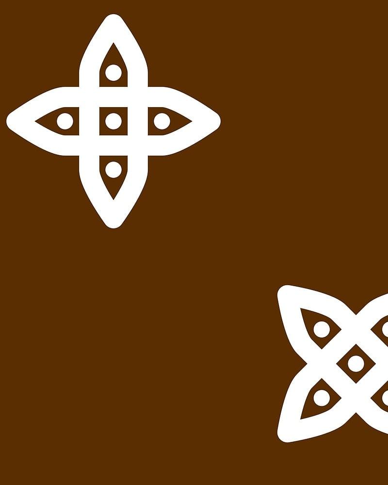Geometric Pattern: Four Petal Stylised Flower / Red Wolf