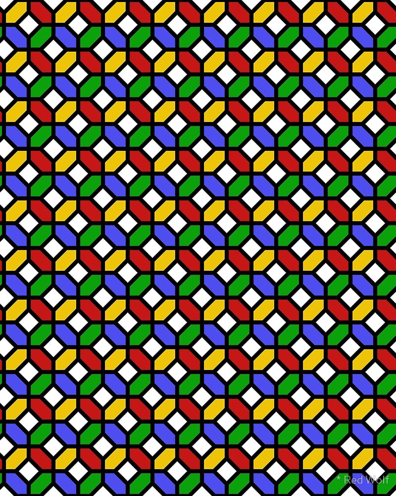 Geometric Pattern: Octagon / Red Wolf