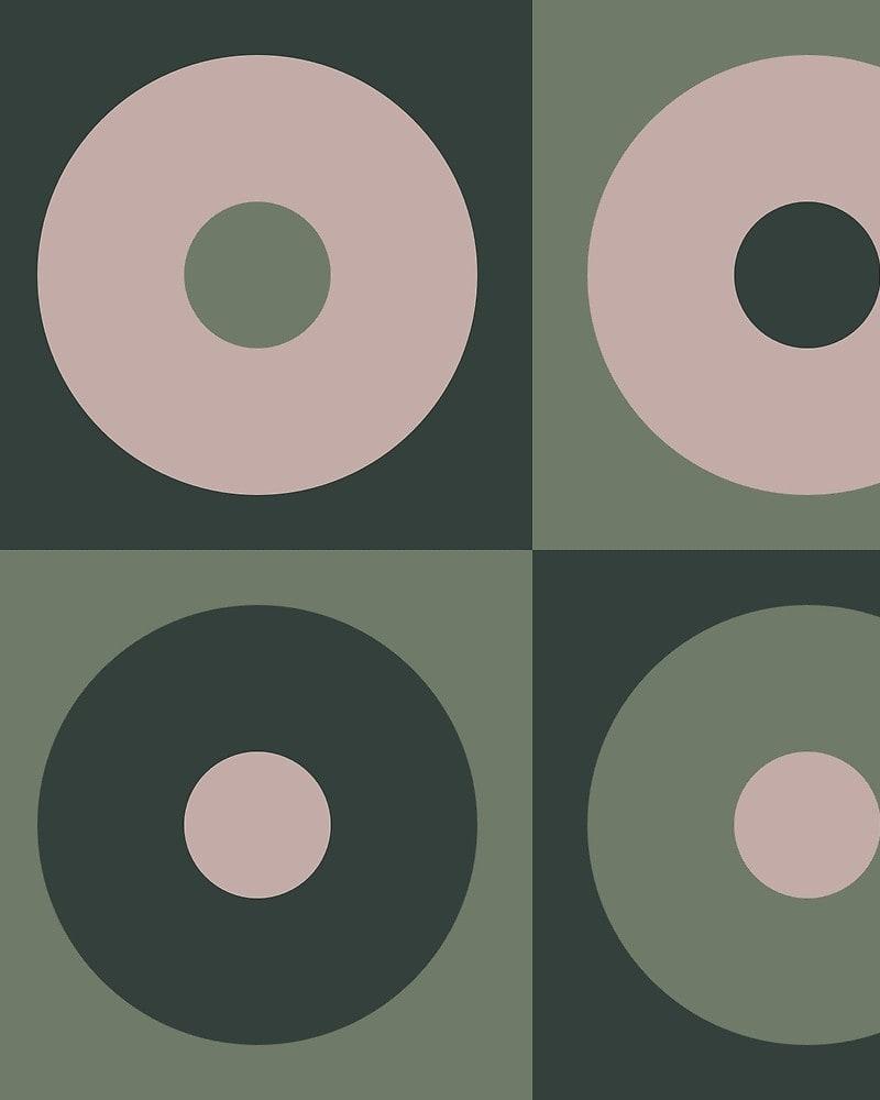 Geometric Pattern: Alternating Circles / Red Wolf