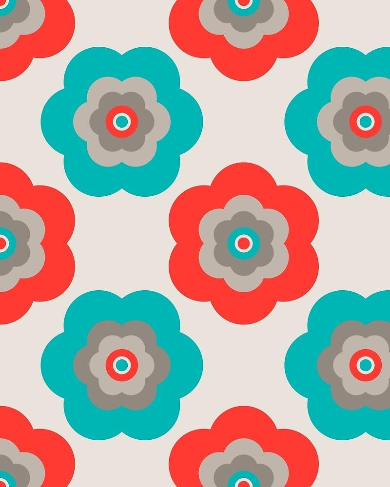 Geometric Pattern: Six Petal Flower / Red Wolf