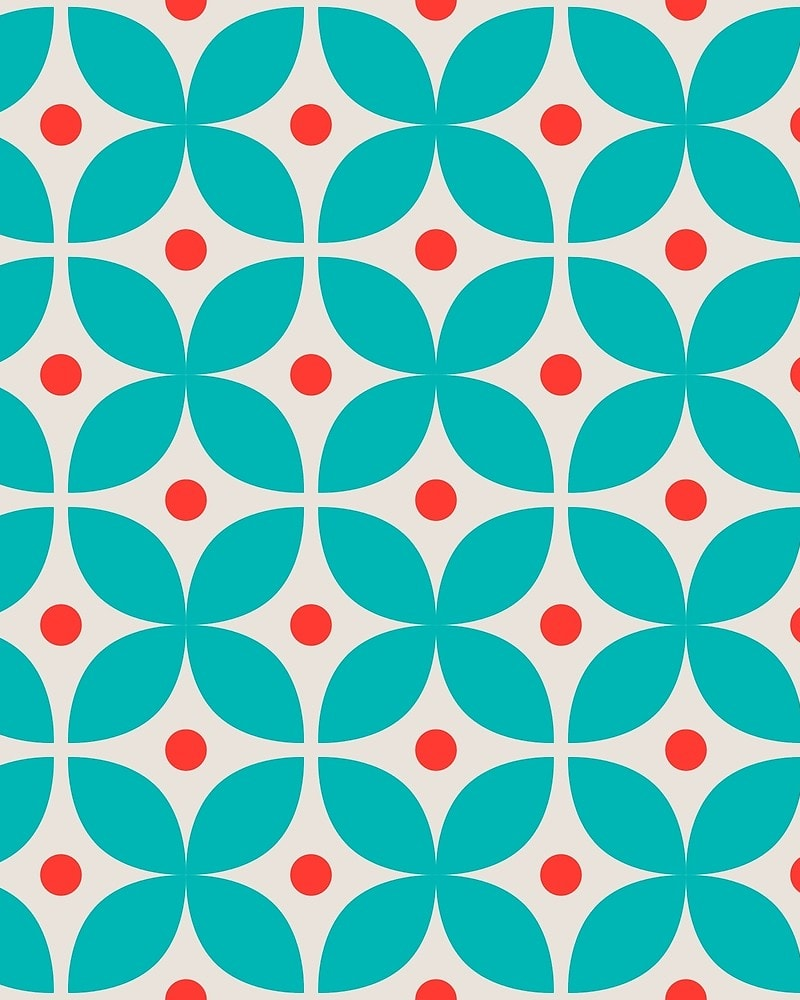 Geometric Pattern: Stylised Flower / Red Wolf