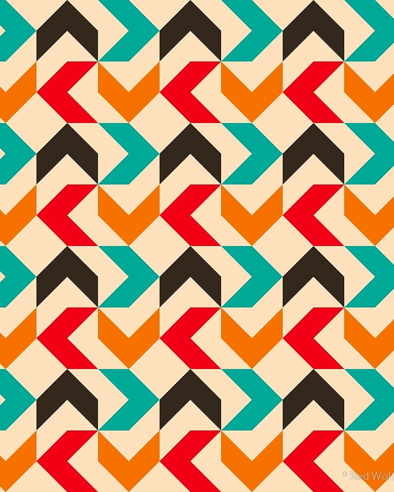 Geometric Pattern: Chevron / Red Wolf