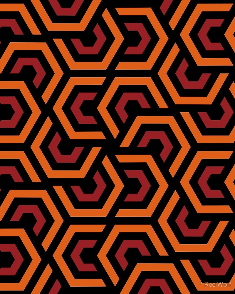 Geometric Pattern: Layered Hexagon / Red Wolf