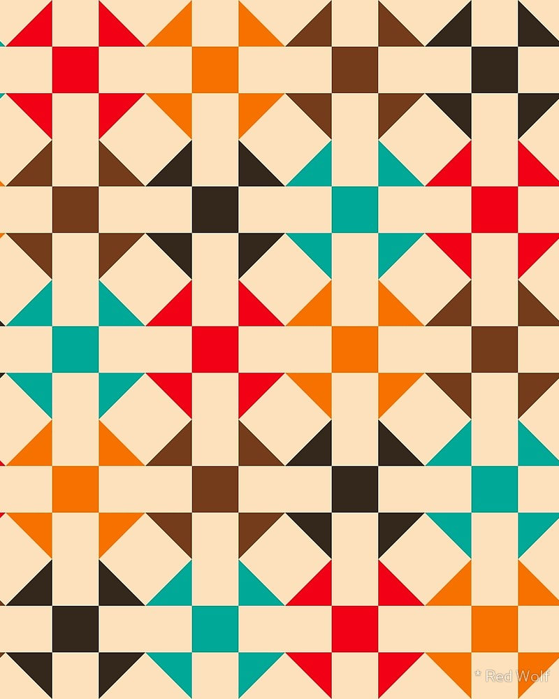 Geometric Pattern: Quilt: Seasons / Red Wolf