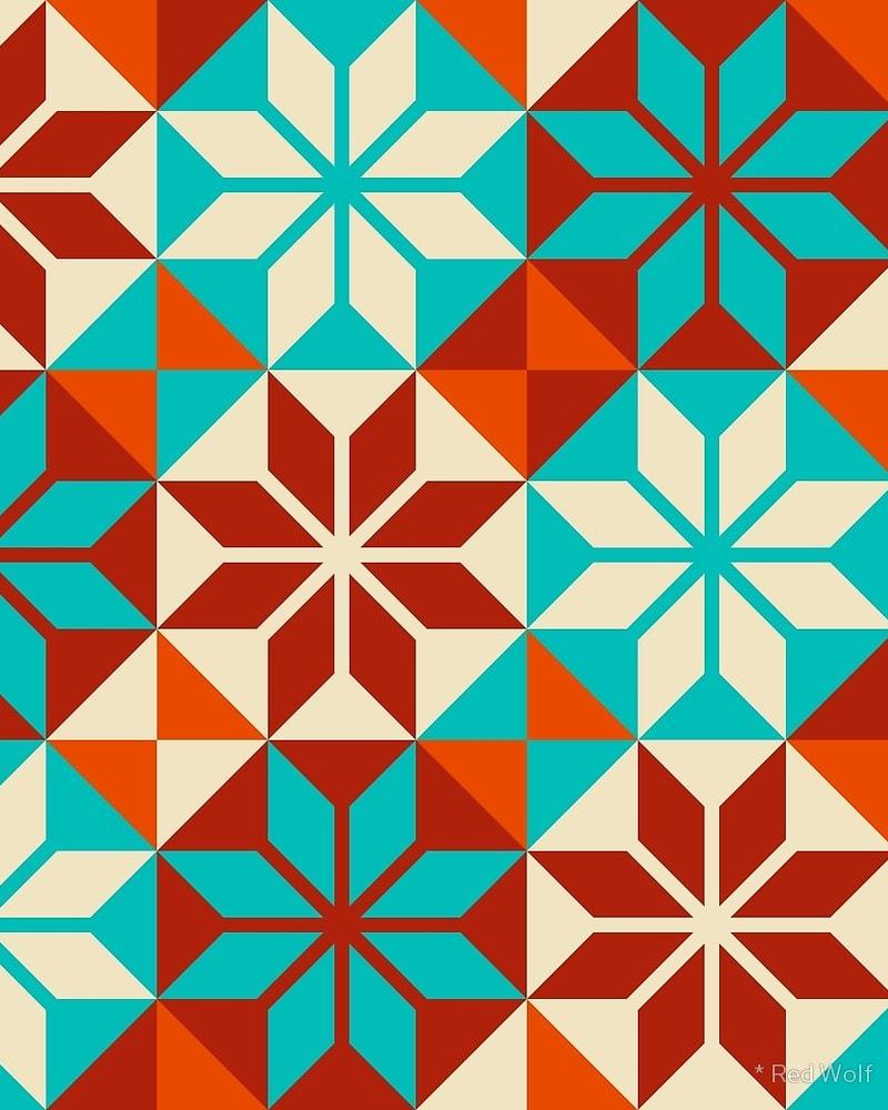 Geometric Pattern: Eight Petal Flower / Red Wolf
