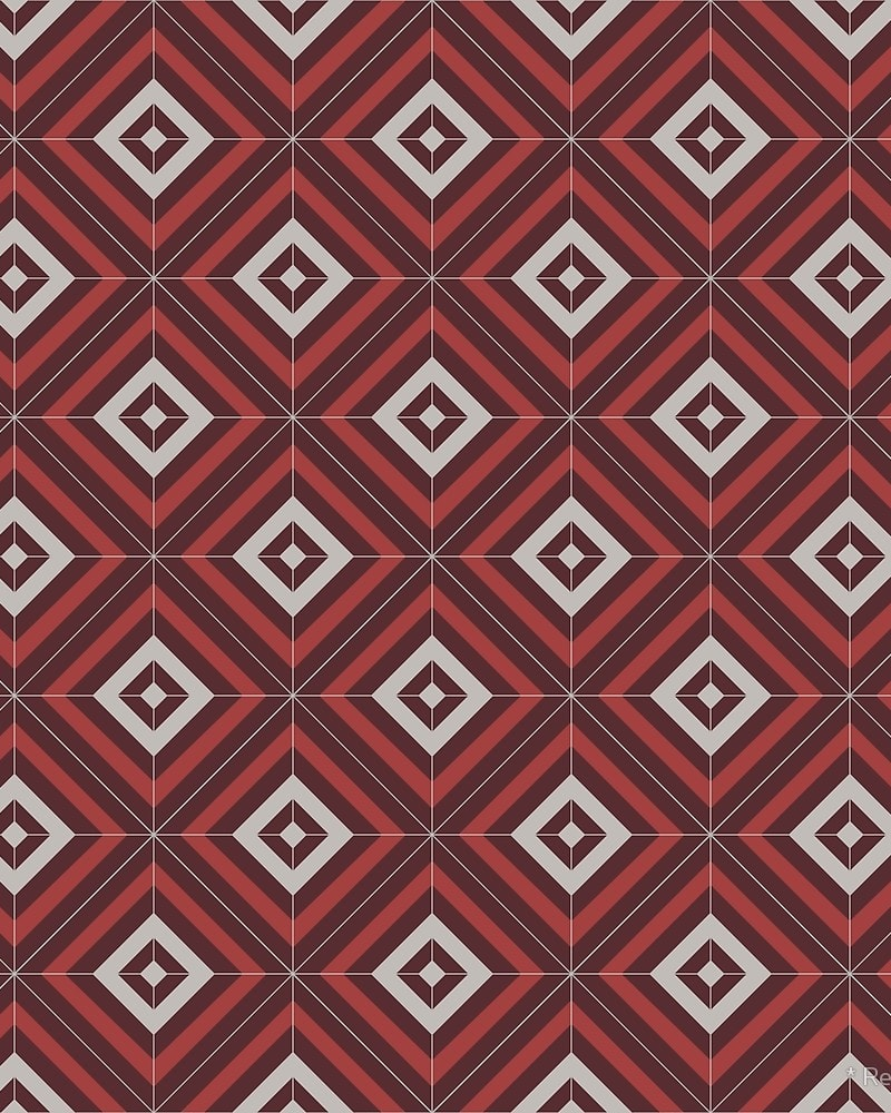 Geometric Pattern: Diamond Weave / Red Wolf