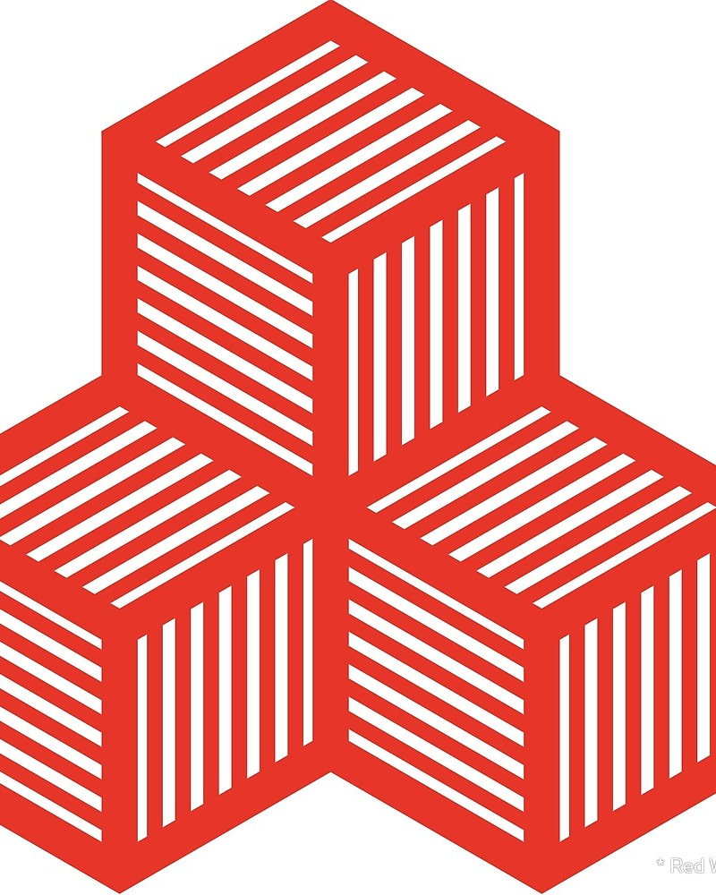 Geometric Pattern: Cube Stripe / Red Wolf