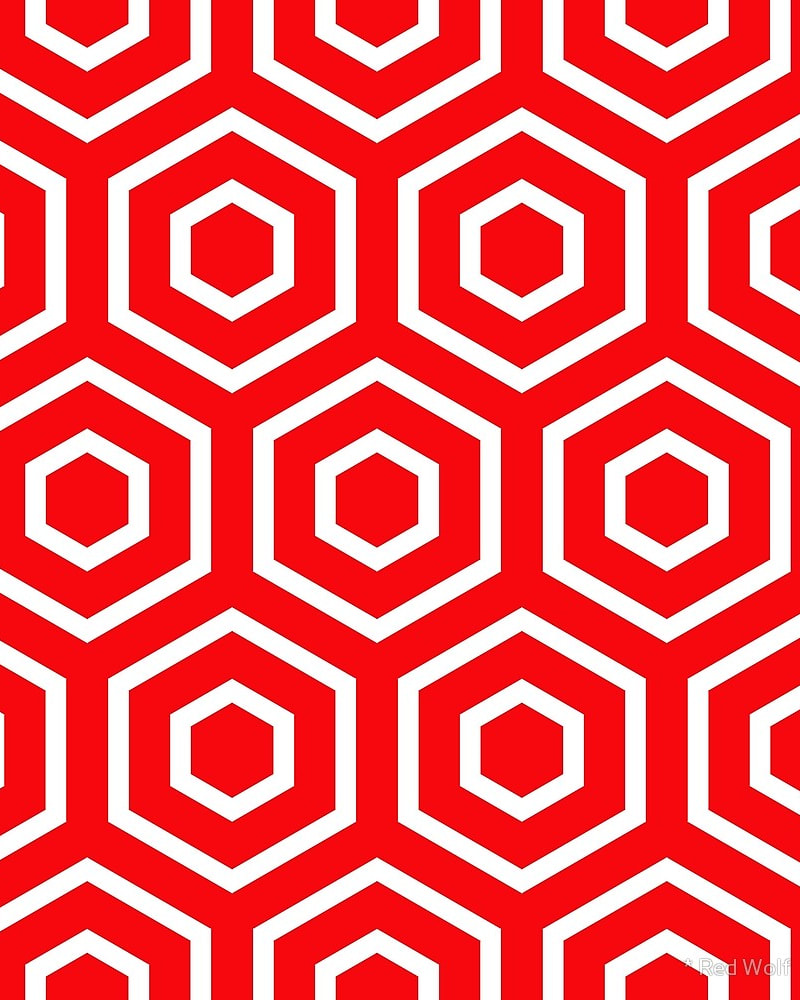 Geometric Pattern: Hexagon Ring / Red Wolf