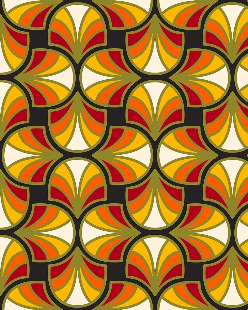 Geometric Pattern: Art Deco: Curve / Red Wolf
