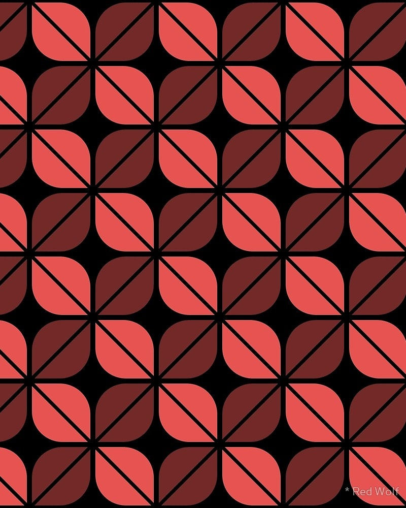 Geometric Pattern: Leaf: Black / Red Wolf