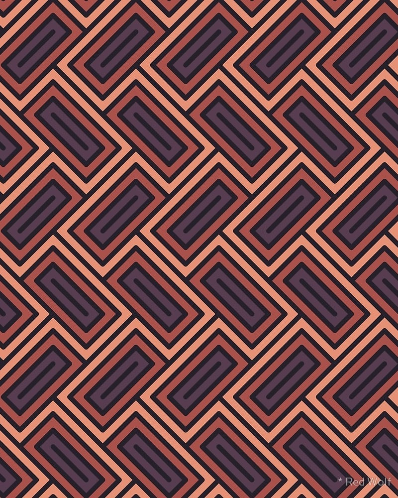 Geometric Pattern: Falling Rectangle / Red Wolf