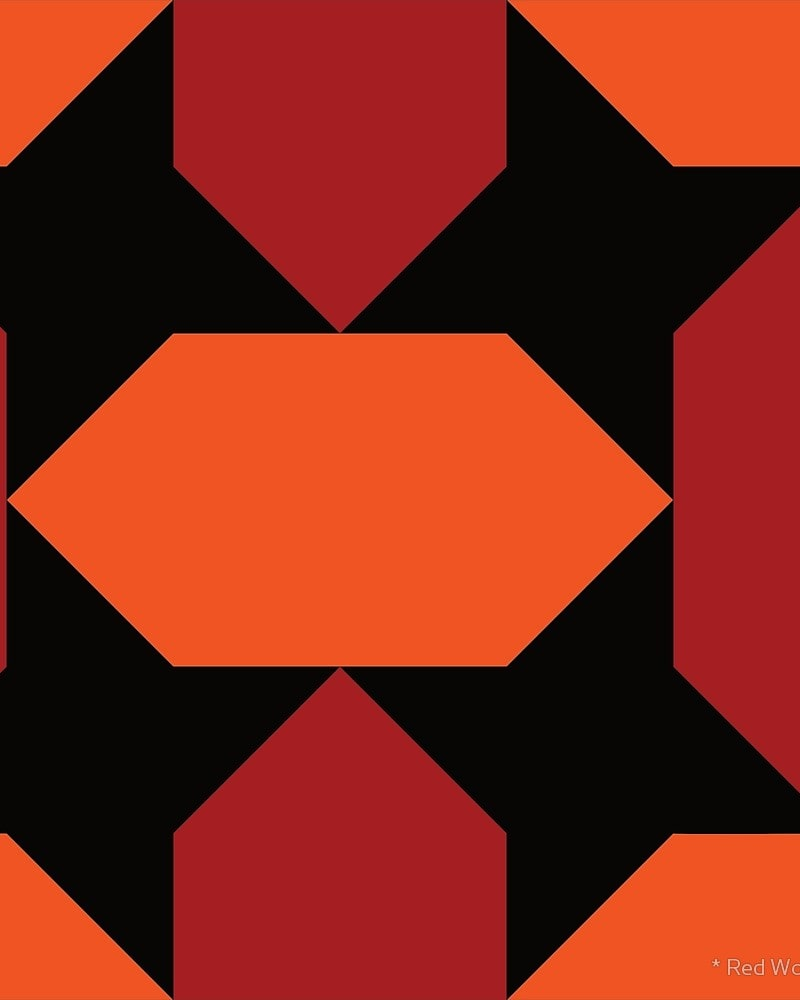 Geometric Pattern: Star Lozenge / Red Wolf