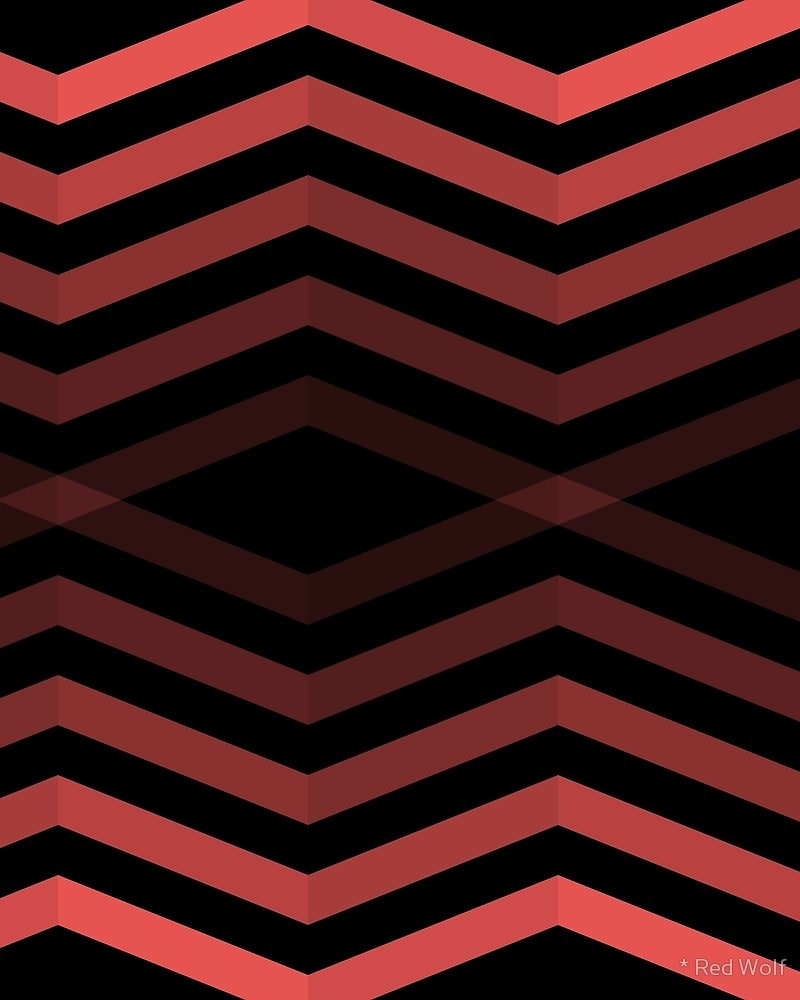 Geometric Pattern: Chevron Cascade: Dark / Red Wolf