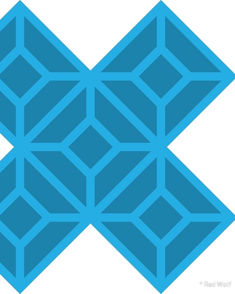 Geometric Pattern: Diamond Tile: Dark / Red Wolf