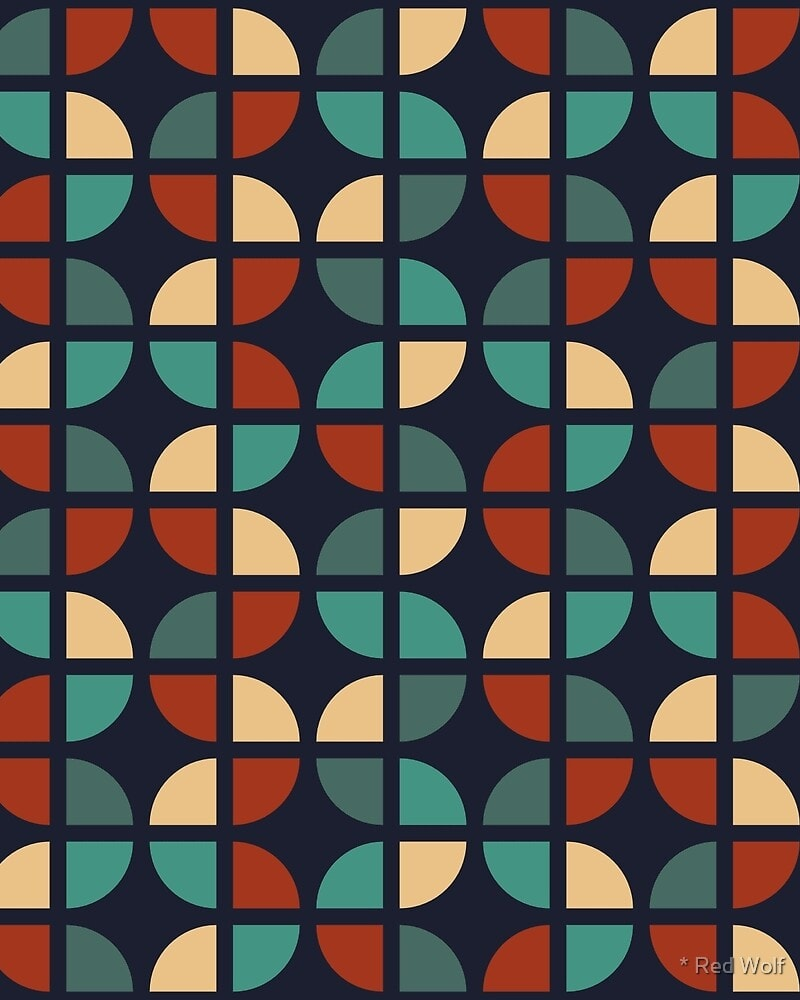 Geometric Pattern: Quarter Circle: Flora / Red Wolf