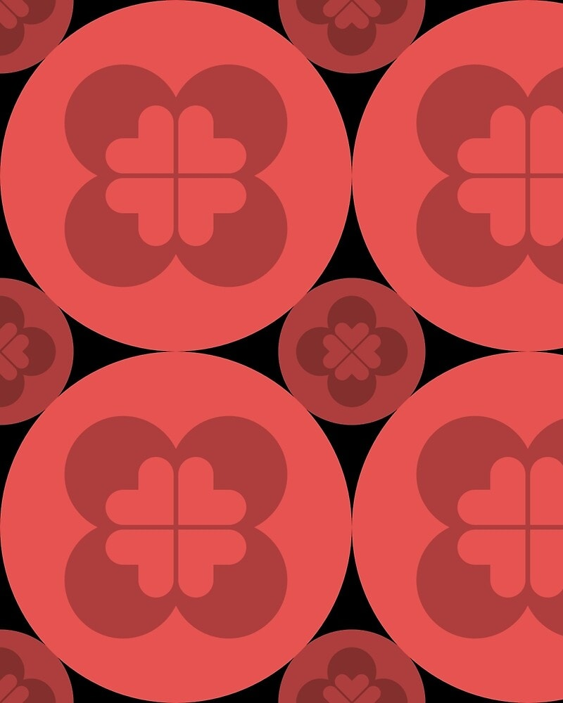 Geometric Pattern: Flower Circle: Dark / Red Wolf