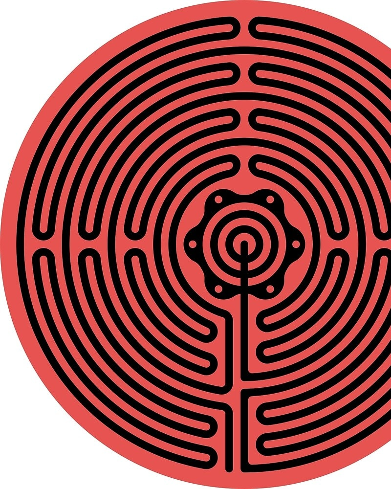 Geometric Pattern: Labyrinth: Dark / Red Wolf