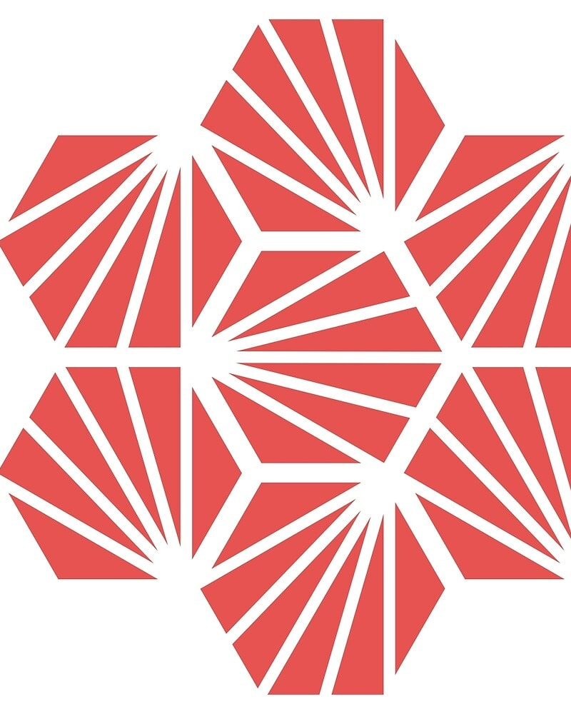 Geometric Pattern: Hexagon Ray: White Outline / Red Wolf