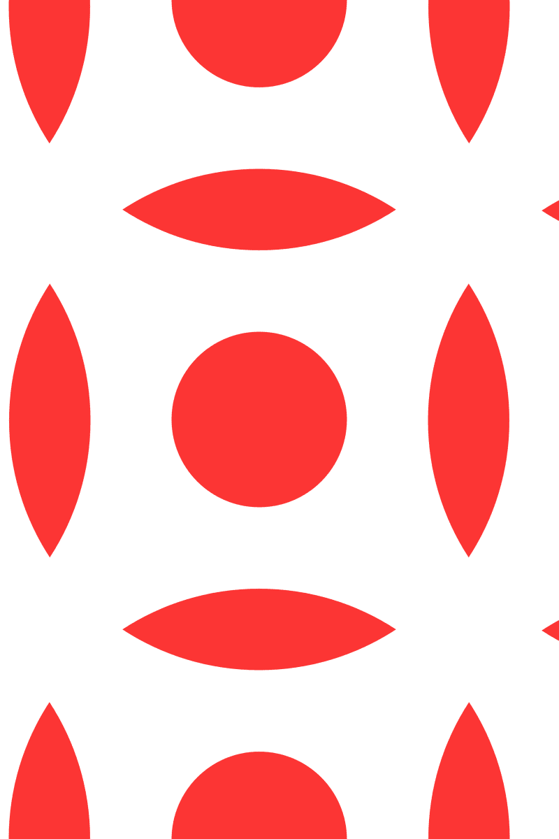 Geometric Pattern: Intersect Circle: White Colour / Red Wolf