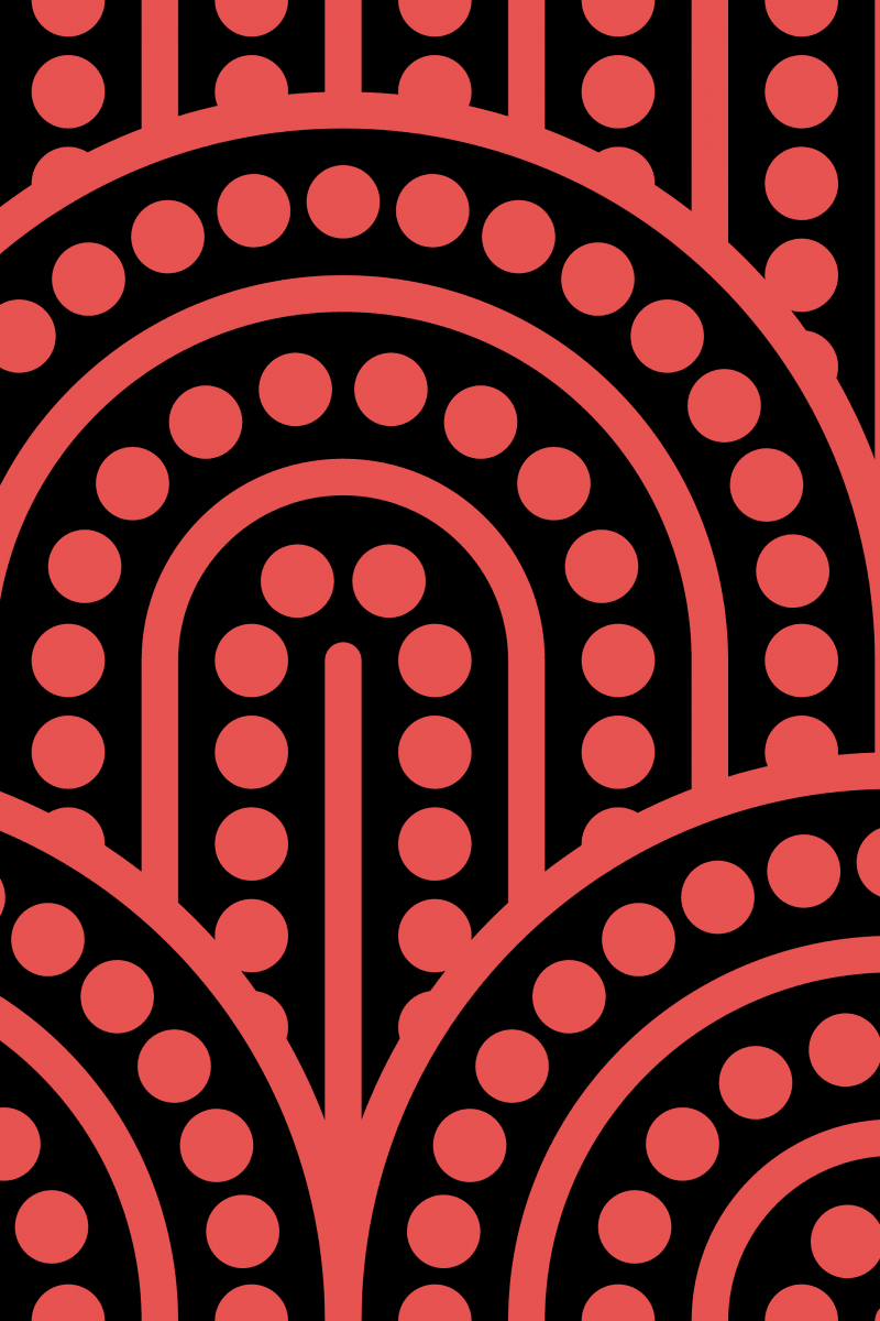 Geometric Pattern: Arch Dot: Black Background / Red Wolf