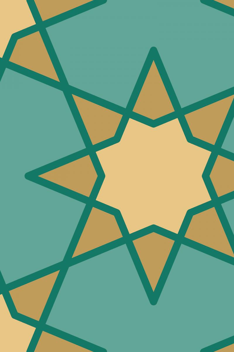 Geometric Pattern: Octagram: Quad 1 / Red Wolf