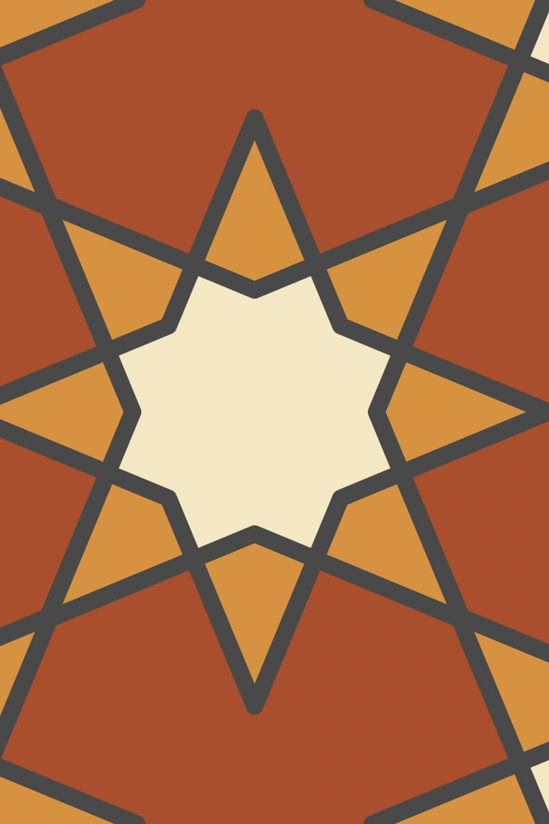 Geometric Pattern: Octagram: Quad 2 / Red Wolf