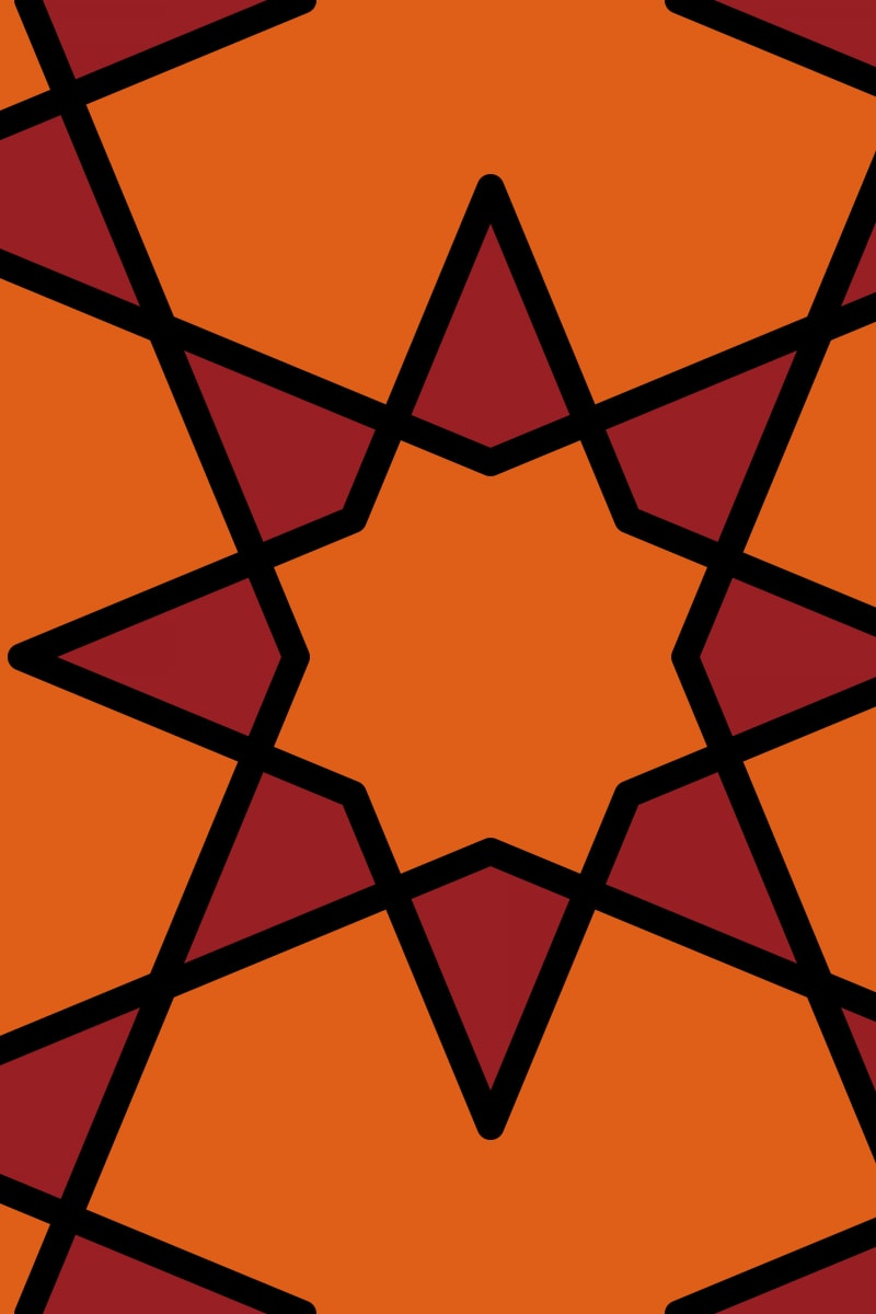 Geometric Pattern: Octagram: Retro / Red Wolf