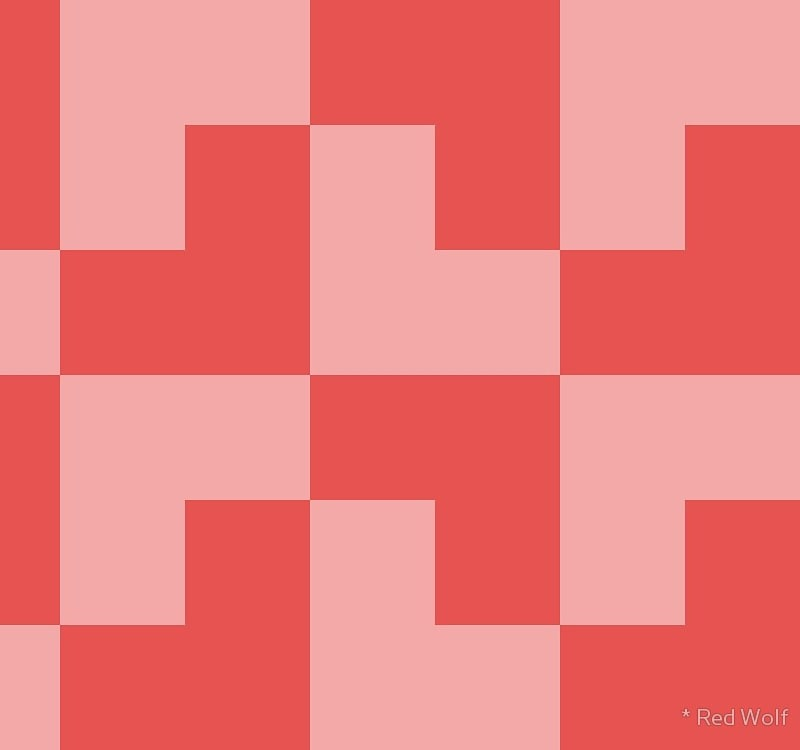 Geometric Pattern: Tetris Ell: Light / Red Wolf