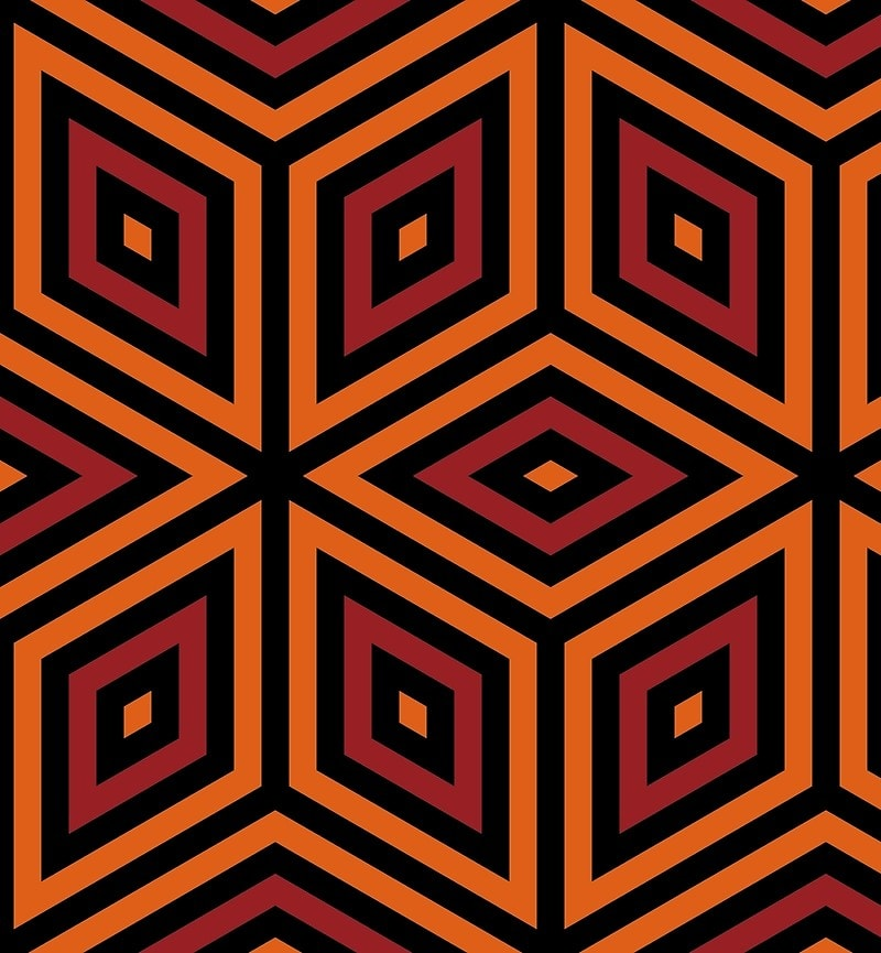 Geometric Pattern: Nested Cubes / Red Wolf