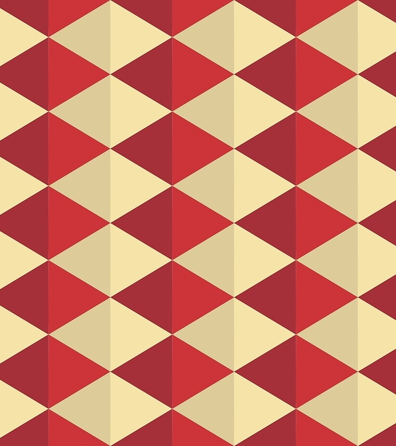 Geometric Pattern: Split Diamond / Red Wolf