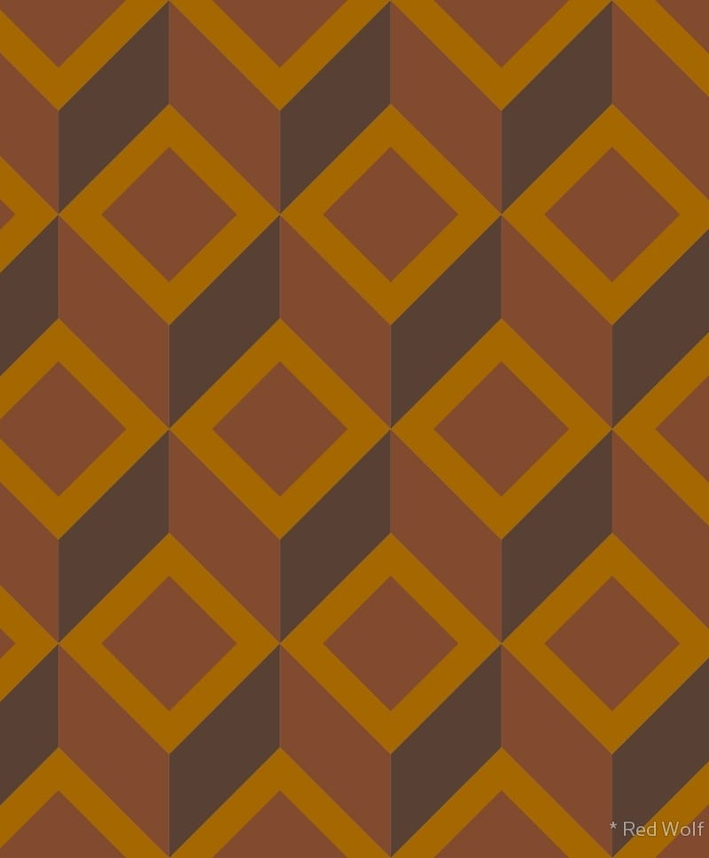 Geometric Pattern: Diamond Chevron / Red Wolf