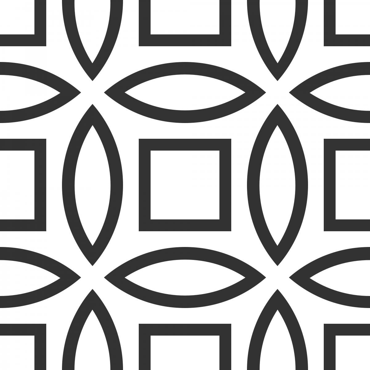 Geometric Pattern: Intersect Outline: White Monochrome / Red Wolf
