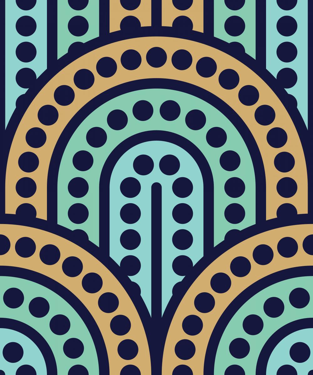 Geometric Pattern: Arch Dot: Quad 1 / Red Wolf