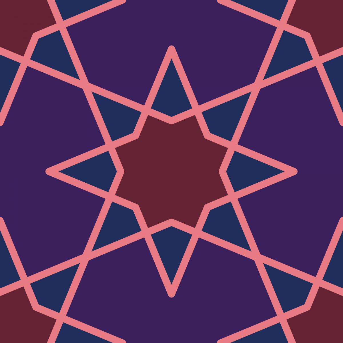 Geometric Pattern: Octagram: Quad 2 / Red Wolf