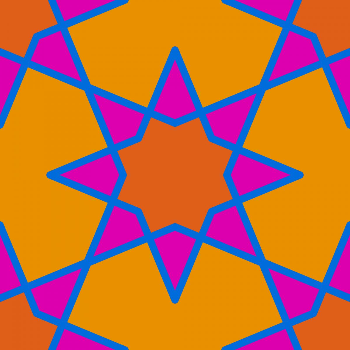 Geometric Pattern: Octagram: Retro / Red Wolf