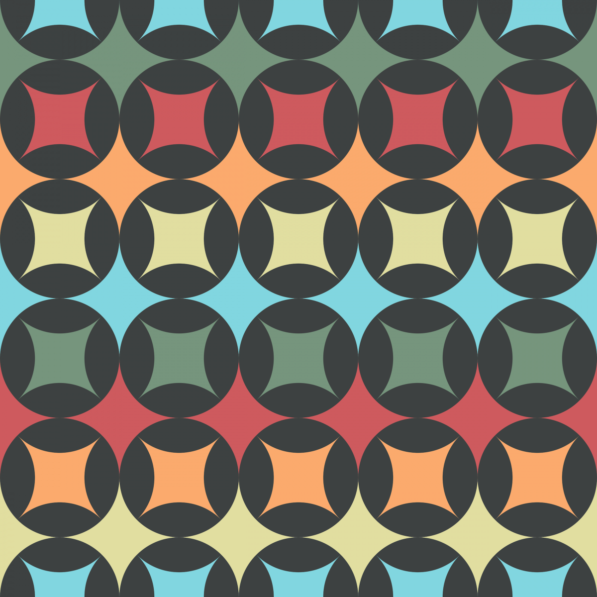 Geometric Pattern: Circle Stacked / Red Wolf