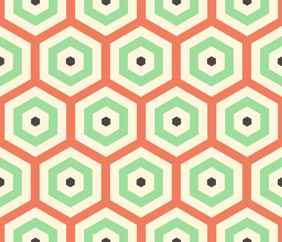 Geometric Pattern: Hexagon Hive: Moderna / Red Wolf