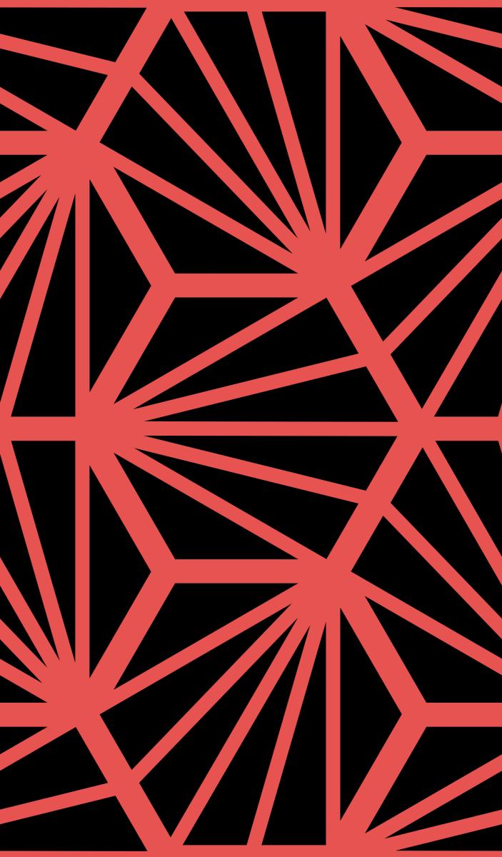 Geometric Pattern: Hexagon Ray: Black Background / Red Wolf