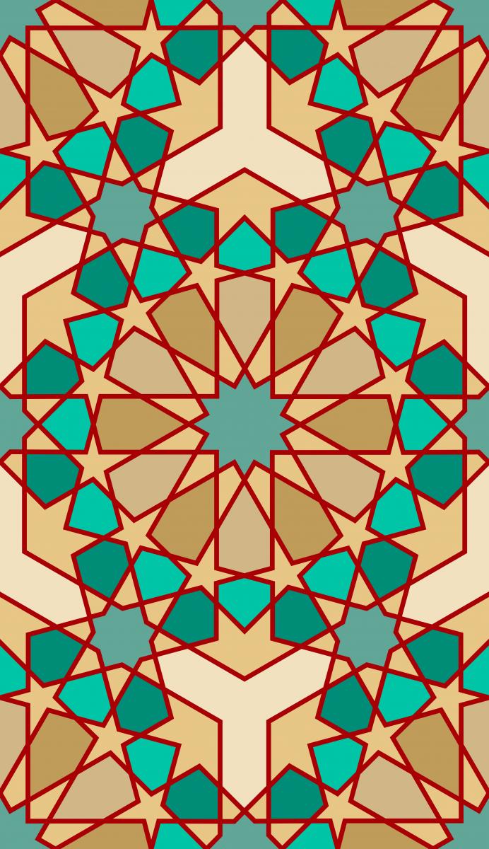 Geometric Pattern: Arabic Tiles: Flora / Red Wolf