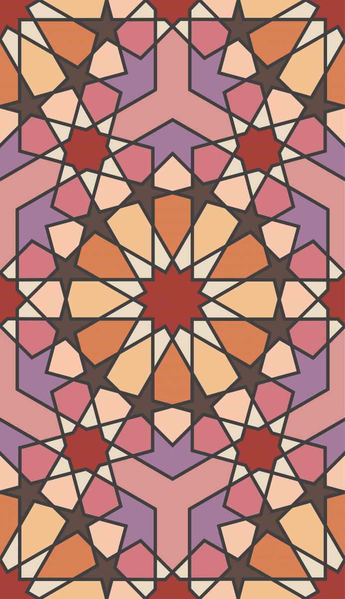 Geometric Pattern: Arabic Tiles: Season / Red Wolf