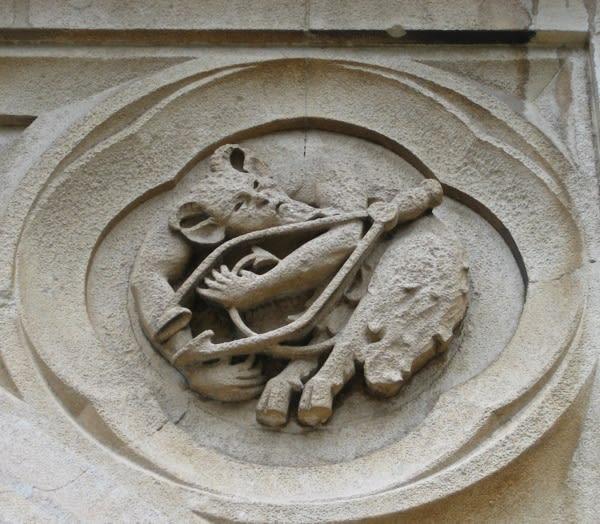 Spandrel over the west door / St Dunstan and All Saints Stepney