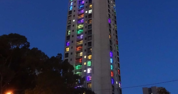 Lights in the windows at Waterloo residences
