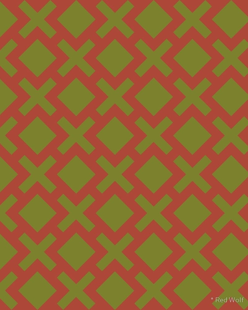 Geometric Pattern: Diamond Cross / Red Wolf