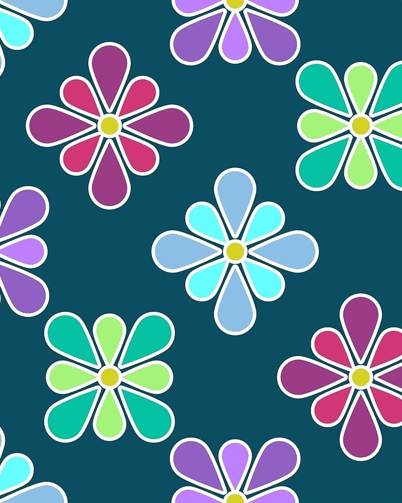Pastel Flower Patterns / Red Wolf