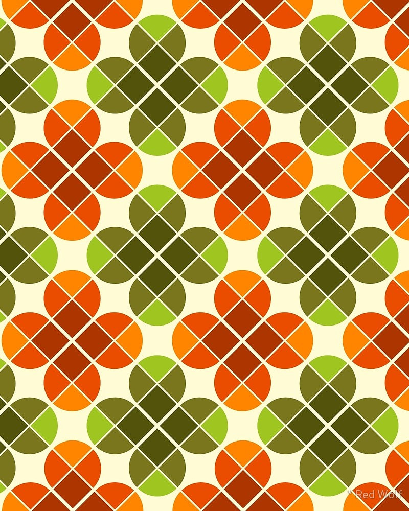 Geometric Pattern: Flower: Four Petal / Red Wolf