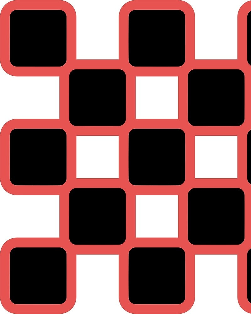 Geometric Pattern: Rounded Weave: Colour/Black / Red Wolf
