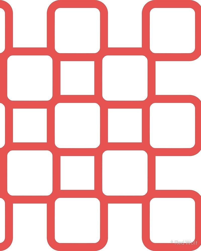 Geometric Pattern: Rounded Weave: Colour/White / Red Wolf