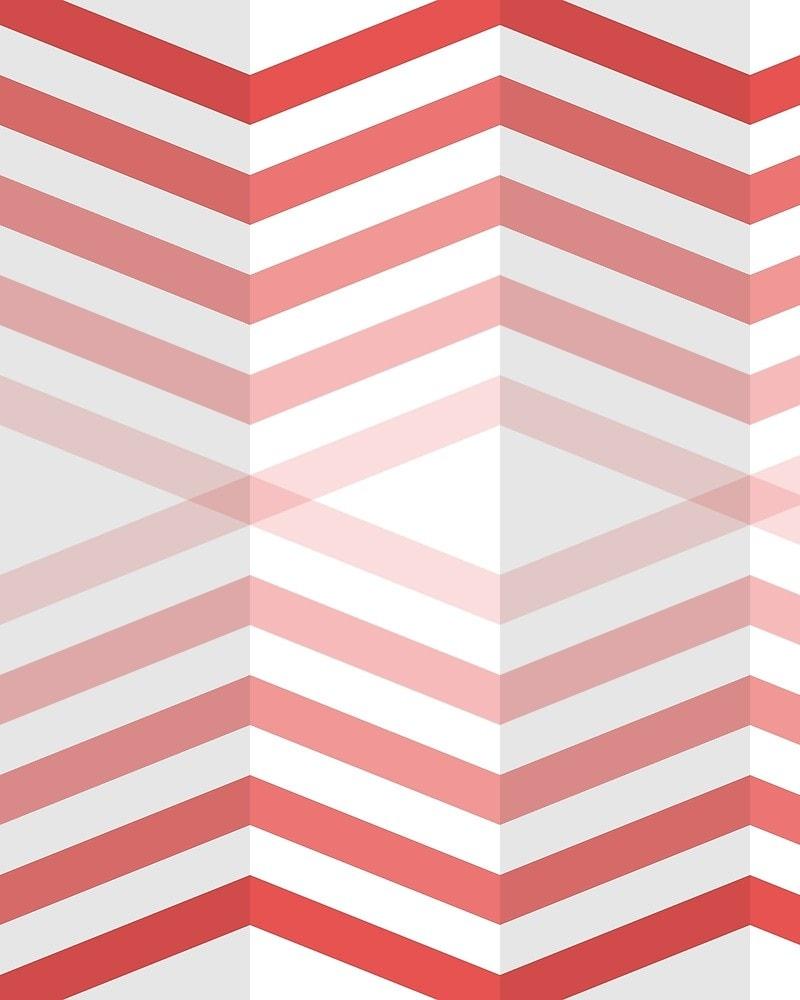 Geometric Pattern: Chevron Cascade: Light / Red Wolf