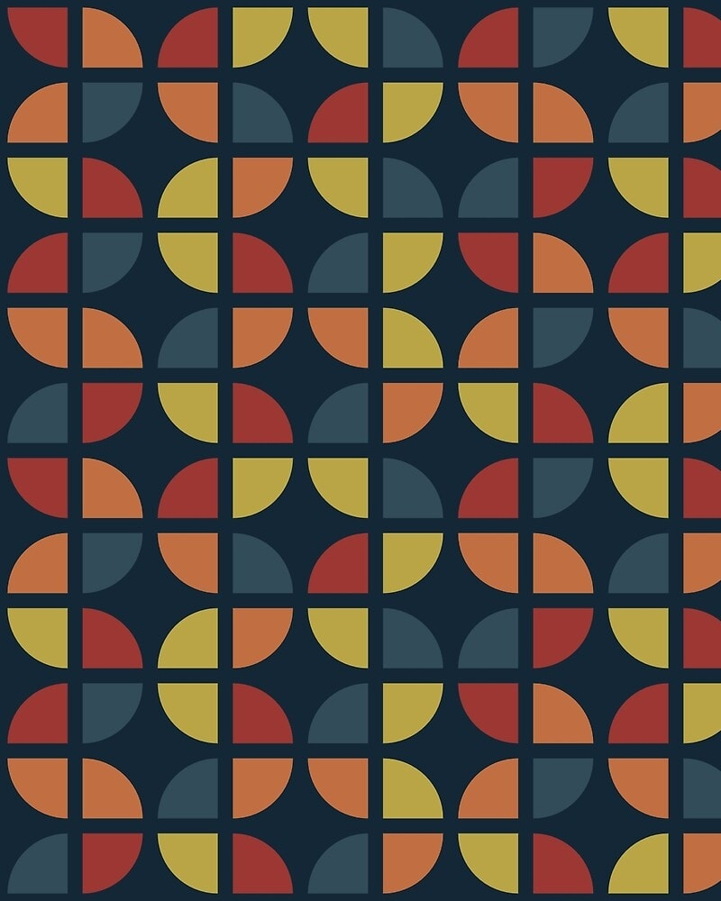 Geometric Pattern: Quarter Circle: Flora / Red Wolf