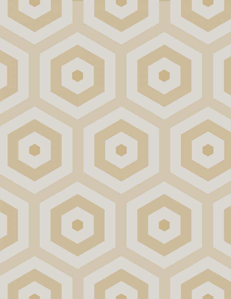 Geometric Pattern: Hexagon Hive: Stone / Red Wolf